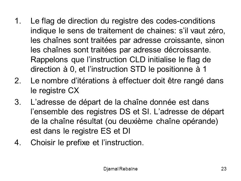 Djamal Rebaïne23 1.Le flag de direction du registre des codes-conditions indique le sens de traitement de chaines: s'il vaut zéro, les chaînes sont tr