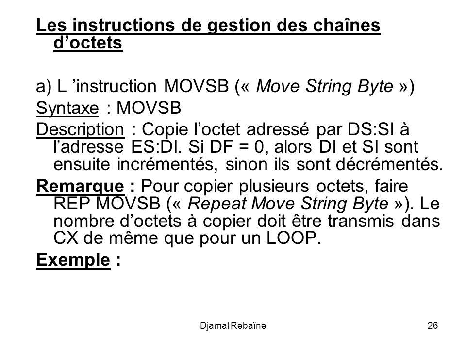 Djamal Rebaïne26 Les instructions de gestion des chaînes d'octets a) L 'instruction MOVSB (« Move String Byte ») Syntaxe : MOVSB Description : Copie l