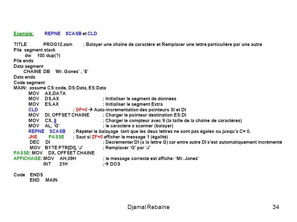 Djamal Rebaïne34 Exemple: REPNE SCASB et CLD TITLE PROG12.asm ; Balayer une chaîne de caractère et Remplacer une lettre particulière par une autre Pil