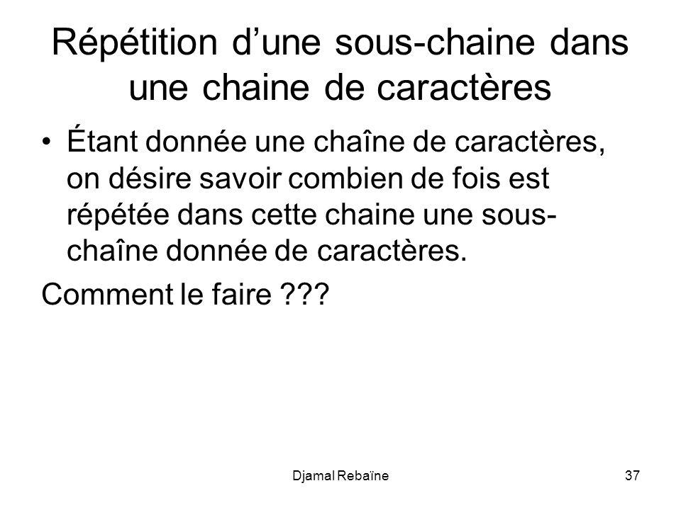 Djamal Rebaïne37 Répétition d'une sous-chaine dans une chaine de caractères Étant donnée une chaîne de caractères, on désire savoir combien de fois es