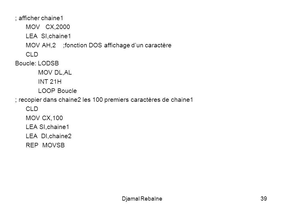 Djamal Rebaïne39 ; afficher chaine1 MOV CX,2000 LEA SI,chaine1 MOV AH,2 ;fonction DOS affichage d'un caractère CLD Boucle: LODSB MOV DL,AL INT 21H LOO