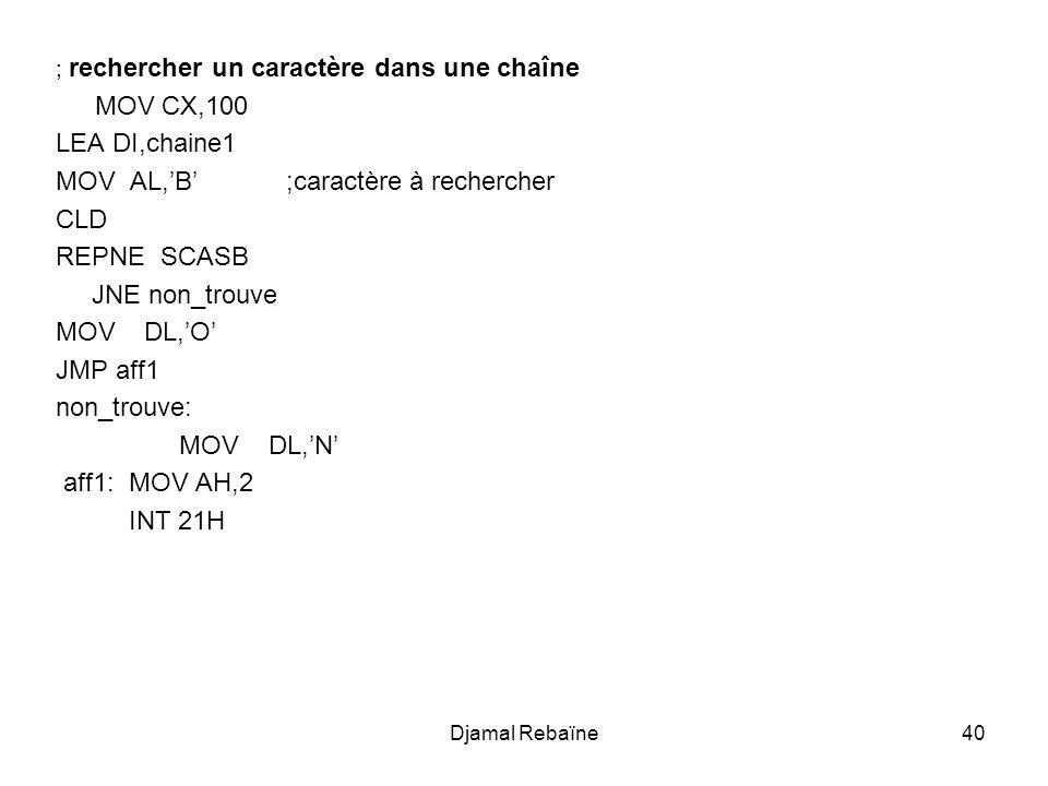 Djamal Rebaïne40 ; rechercher un caractère dans une chaîne MOV CX,100 LEA DI,chaine1 MOV AL,'B' ;caractère à rechercher CLD REPNE SCASB JNE non_trouve