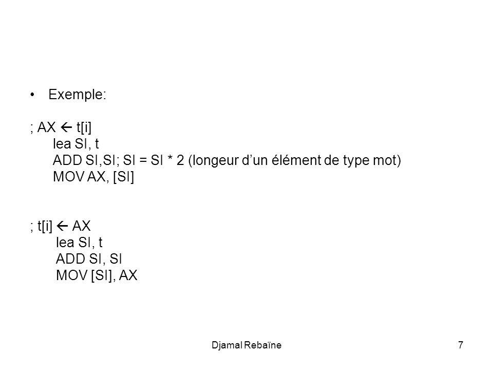 Djamal Rebaïne7 Exemple: ; AX  t[i] lea SI, t ADD SI,SI; SI = SI * 2 (longeur d'un élément de type mot) MOV AX, [SI] ; t[i]  AX lea SI, t ADD SI, SI