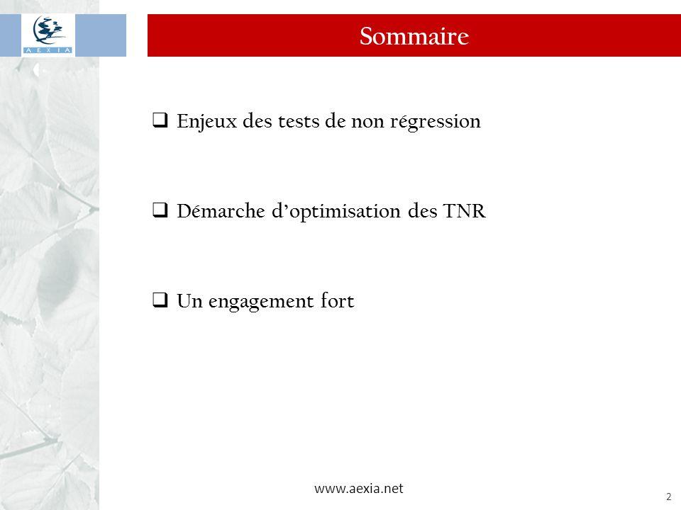 www.aexia.net 3 Les enjeux du test de non régression  Nombreuses demandes du métier o Nouveaux produits, règlementaire, etc.