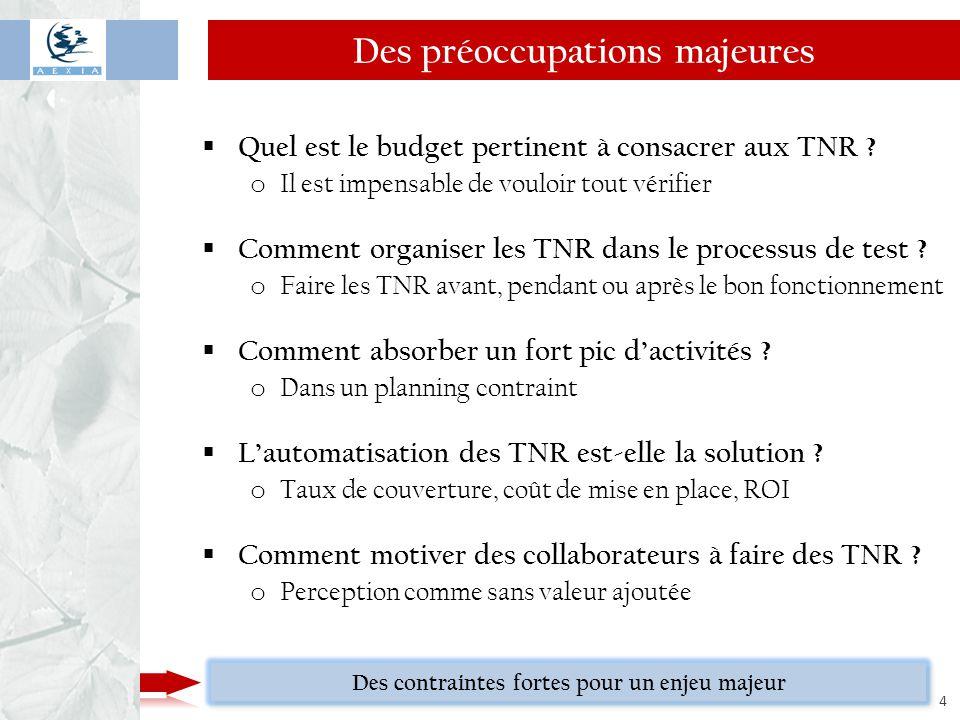 www.aexia.net 4  Quel est le budget pertinent à consacrer aux TNR ? o Il est impensable de vouloir tout vérifier  Comment organiser les TNR dans le