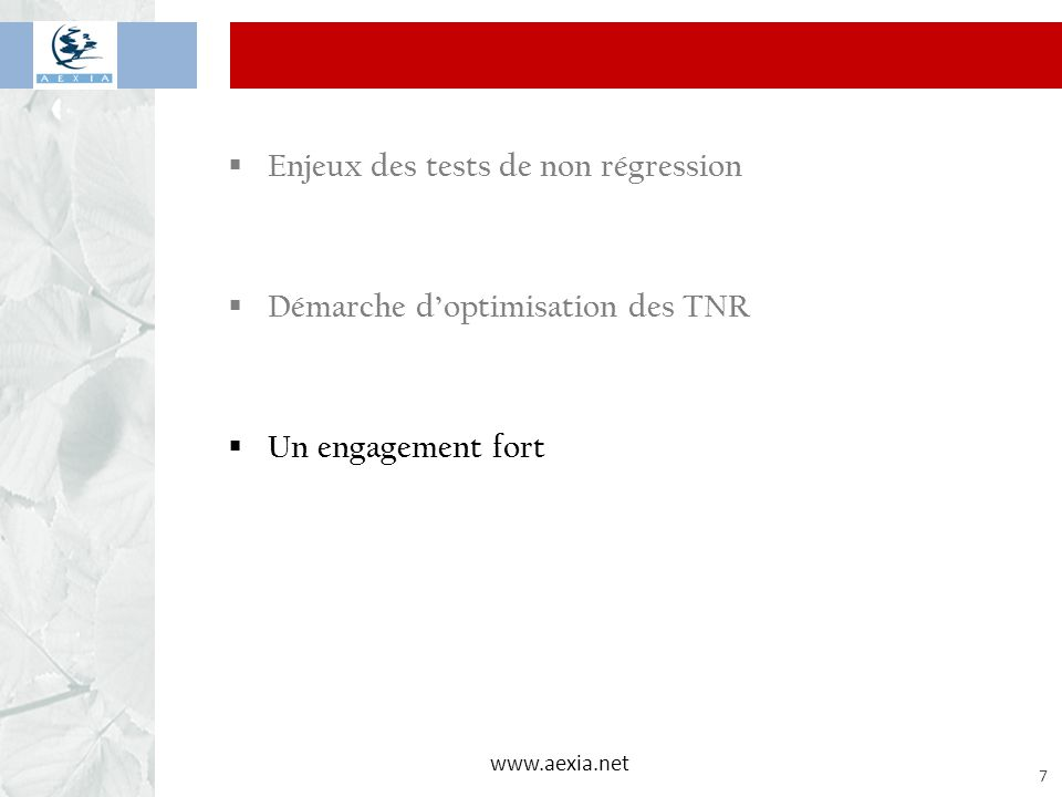 www.aexia.net 7  Enjeux des tests de non régression  Démarche d'optimisation des TNR  Un engagement fort
