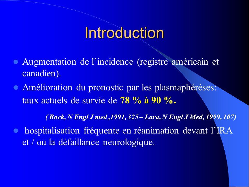 Introduction Augmentation de l'incidence (registre américain et canadien). Amélioration du pronostic par les plasmaphérèses: taux actuels de survie de