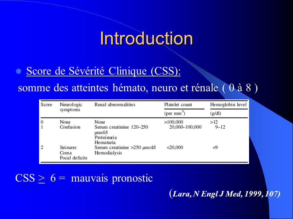 Introduction Score de Sévérité Clinique (CSS): somme des atteintes hémato, neuro et rénale ( 0 à 8 ) CSS > 6 = mauvais pronostic ( Lara, N Engl J Med,