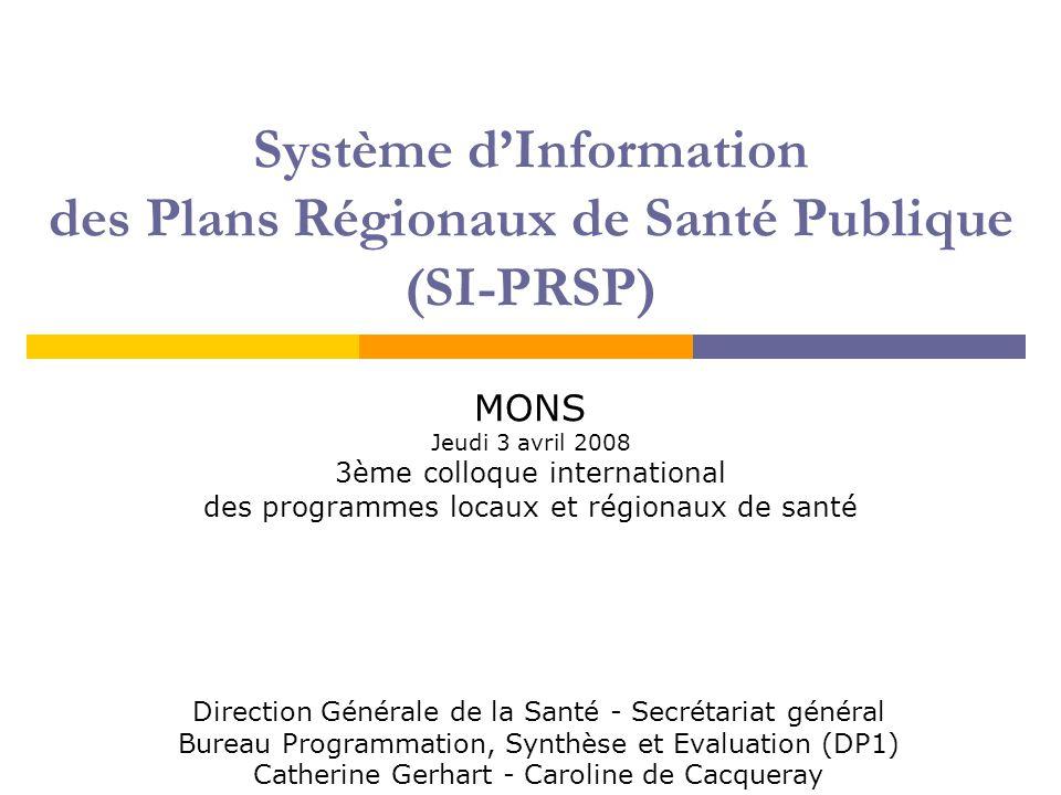 2 Plan  Le Système d'Information des Plans Régionaux de Santé Publique (SI-PRSP) Les besoins L'outil  Module d'édition des bilans du SI-PRSP Possibilités d'extractions Exemple d'analyses