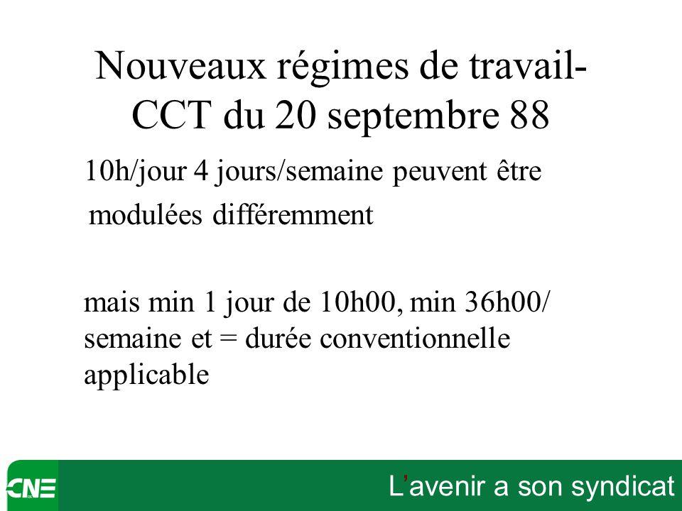 L'avenir a son syndicat Nouveaux régimes de travail- CCT du 20 septembre 88 10h/jour 4 jours/semaine peuvent être modulées différemment mais min 1 jou