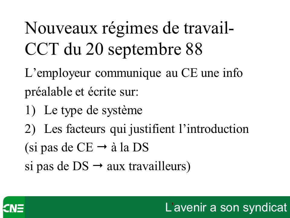L'avenir a son syndicat Nouveaux régimes de travail- CCT du 20 septembre 88 L'employeur communique au CE une info préalable et écrite sur: 1)Le type d