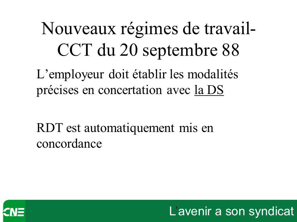 L'avenir a son syndicat Nouveaux régimes de travail- CCT du 20 septembre 88 L'employeur doit établir les modalités précises en concertation avec la DS