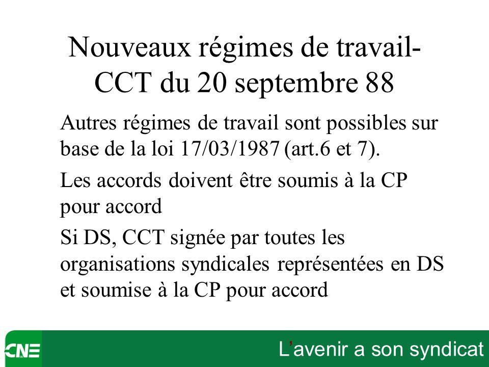 L'avenir a son syndicat Nouveaux régimes de travail- CCT du 20 septembre 88 Autres régimes de travail sont possibles sur base de la loi 17/03/1987 (ar