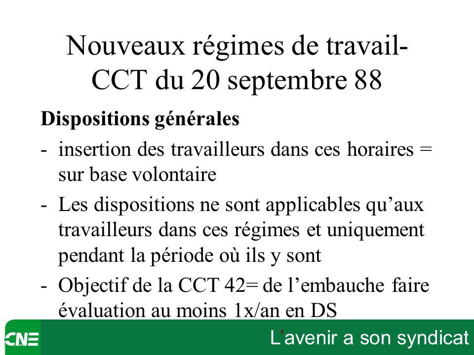 L'avenir a son syndicat Nouveaux régimes de travail- CCT du 20 septembre 88 Dispositions générales -insertion des travailleurs dans ces horaires = sur