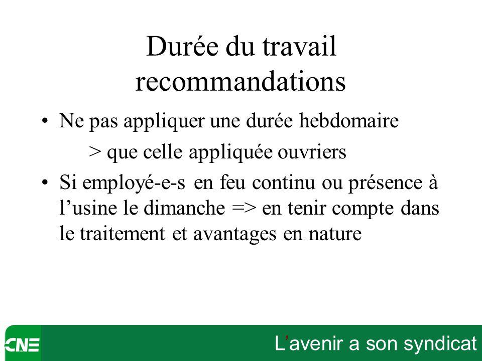 L'avenir a son syndicat Durée du travail recommandations Ne pas appliquer une durée hebdomaire > que celle appliquée ouvriers Si employé-e-s en feu co
