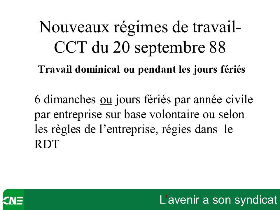 L'avenir a son syndicat Nouveaux régimes de travail- CCT du 20 septembre 88 Travail dominical ou pendant les jours fériés 6 dimanches ou jours fériés
