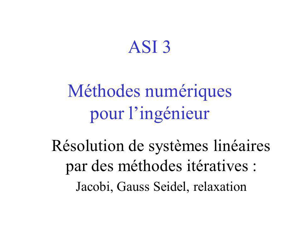 ASI 3 Méthodes numériques pour l'ingénieur Résolution de systèmes linéaires par des méthodes itératives : Jacobi, Gauss Seidel, relaxation