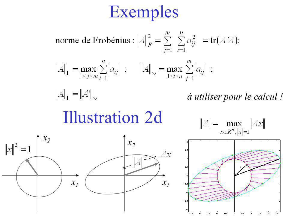 Exemples Illustration 2d x1x1 x2x2 x2x2 x1x1 à utiliser pour le calcul !