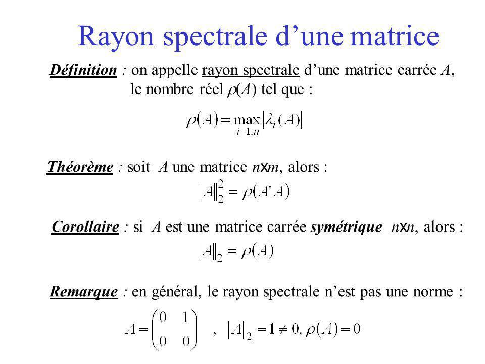 Rayon spectrale d'une matrice Définition : on appelle rayon spectrale d'une matrice carrée A, le nombre réel  (A) tel que : Théorème : soit A une mat