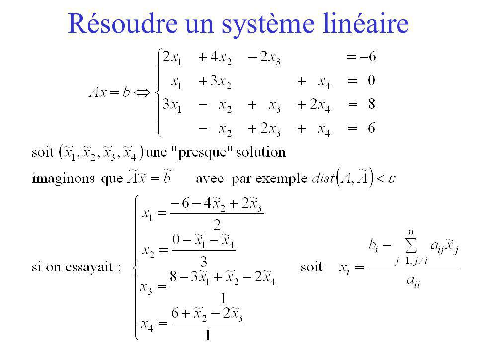 Résoudre un système linéaire en itérant Si Ax n'est pas encore égale à b, on recommence !
