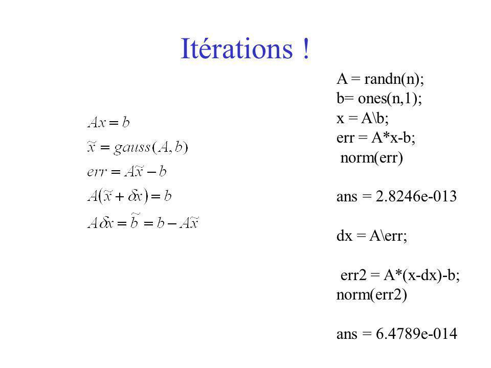 Itérations ! A = randn(n); b= ones(n,1); x = A\b; err = A*x-b; norm(err) ans = 2.8246e-013 dx = A\err; err2 = A*(x-dx)-b; norm(err2) ans = 6.4789e-014