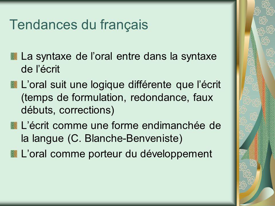 Tendances du français La syntaxe de l'oral entre dans la syntaxe de l'écrit L'oral suit une logique différente que l'écrit (temps de formulation, redo