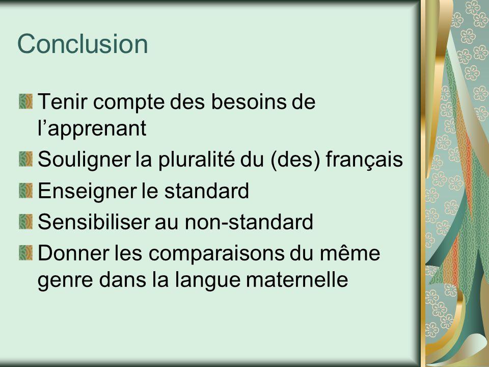 Conclusion Tenir compte des besoins de l'apprenant Souligner la pluralité du (des) français Enseigner le standard Sensibiliser au non-standard Donner