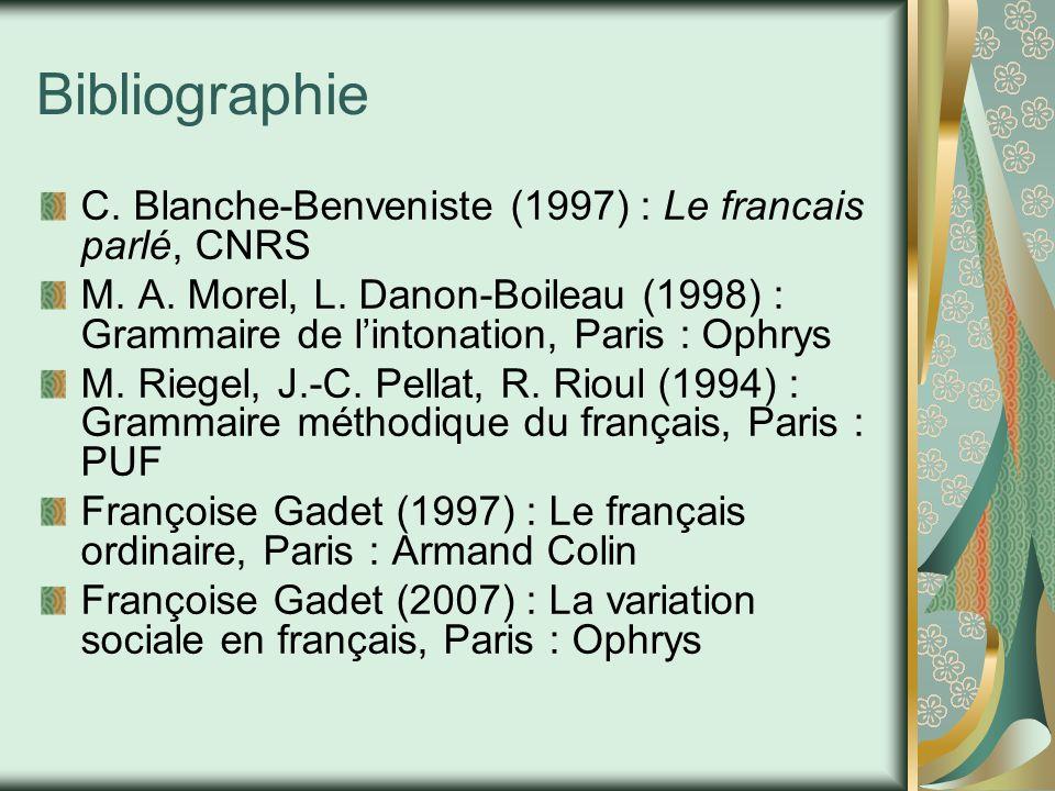 Bibliographie C. Blanche-Benveniste (1997) : Le francais parlé, CNRS M. A. Morel, L. Danon-Boileau (1998) : Grammaire de l'intonation, Paris : Ophrys