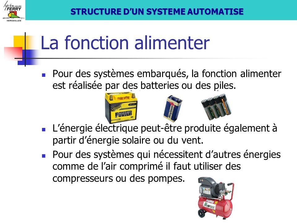 La fonction alimenter Pour des systèmes embarqués, la fonction alimenter est réalisée par des batteries ou des piles. L'énergie électrique peut-être p