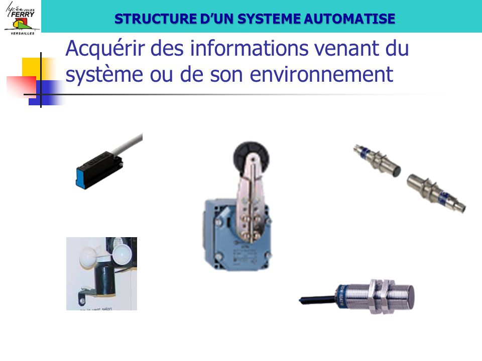 Acquérir les informations provenant de l'utilisateur S si STRUCTURE D'UN SYSTEME AUTOMATISE