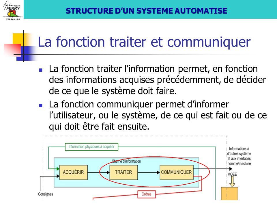 La fonction traiter et communiquer La fonction traiter l'information permet, en fonction des informations acquises précédemment, de décider de ce que