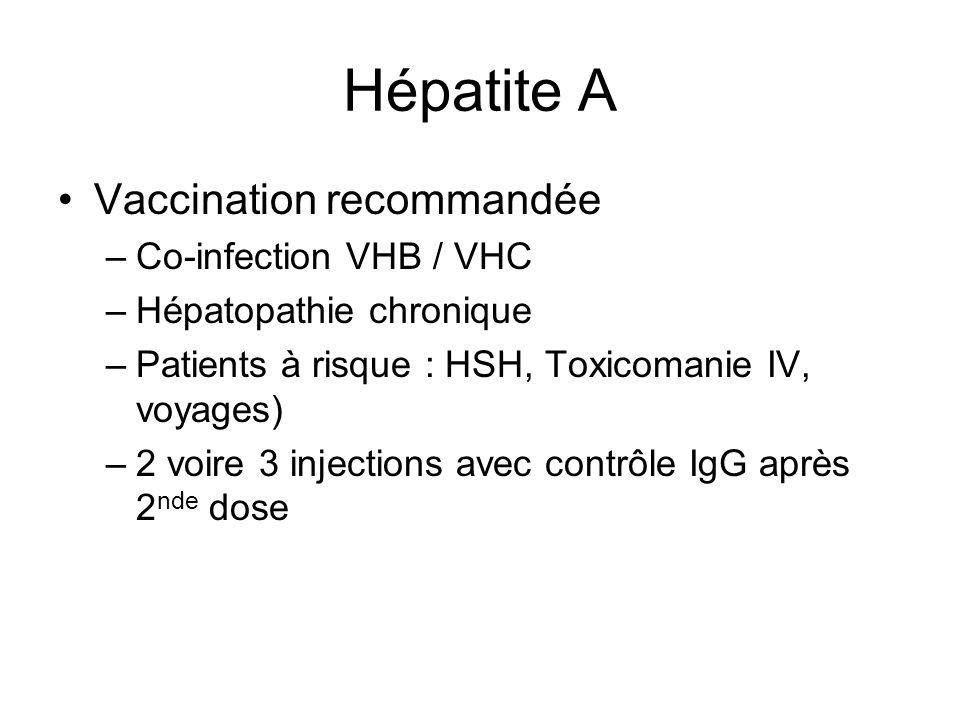 Hépatite A Vaccination recommandée –Co-infection VHB / VHC –Hépatopathie chronique –Patients à risque : HSH, Toxicomanie IV, voyages) –2 voire 3 injections avec contrôle IgG après 2 nde dose