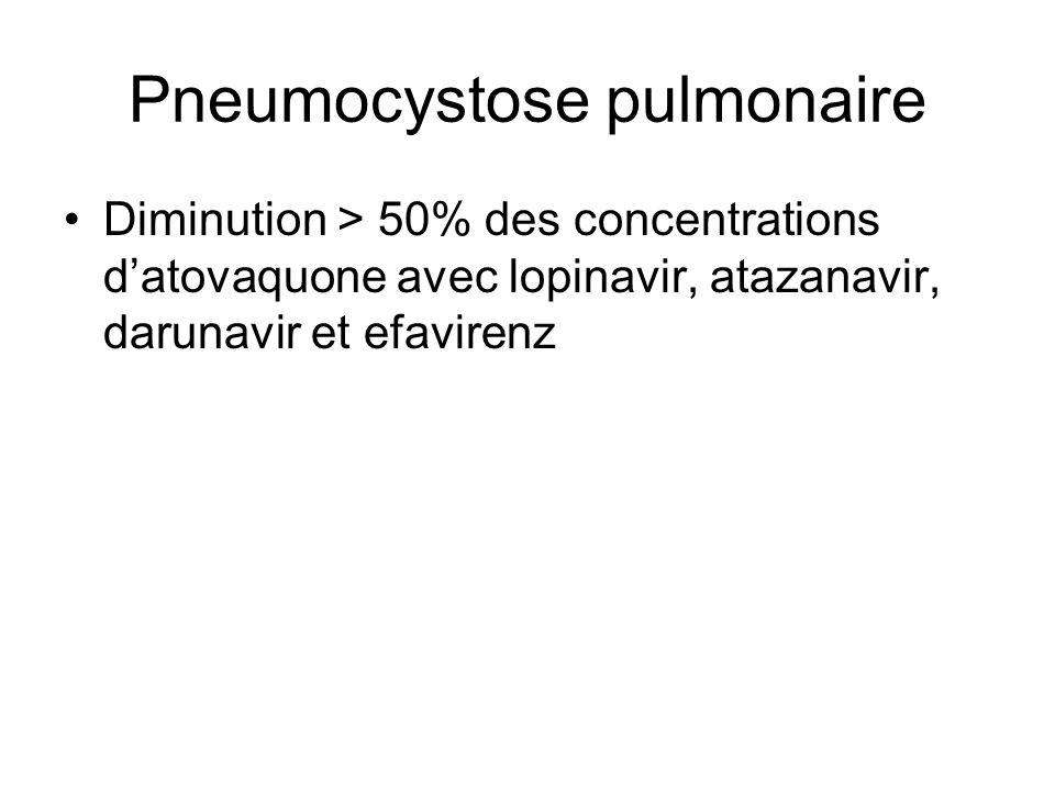 Pneumocystose pulmonaire Diminution > 50% des concentrations d'atovaquone avec lopinavir, atazanavir, darunavir et efavirenz