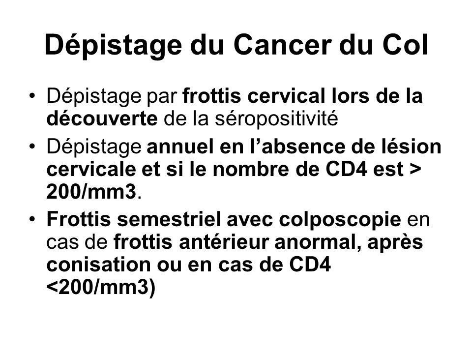 Dépistage du Cancer du Col Dépistage par frottis cervical lors de la découverte de la séropositivité Dépistage annuel en l'absence de lésion cervicale et si le nombre de CD4 est > 200/mm3.