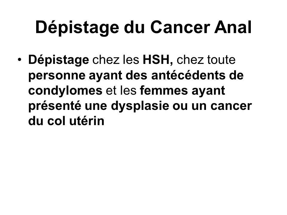 Dépistage du Cancer Anal Dépistage chez les HSH, chez toute personne ayant des antécédents de condylomes et les femmes ayant présenté une dysplasie ou un cancer du col utérin