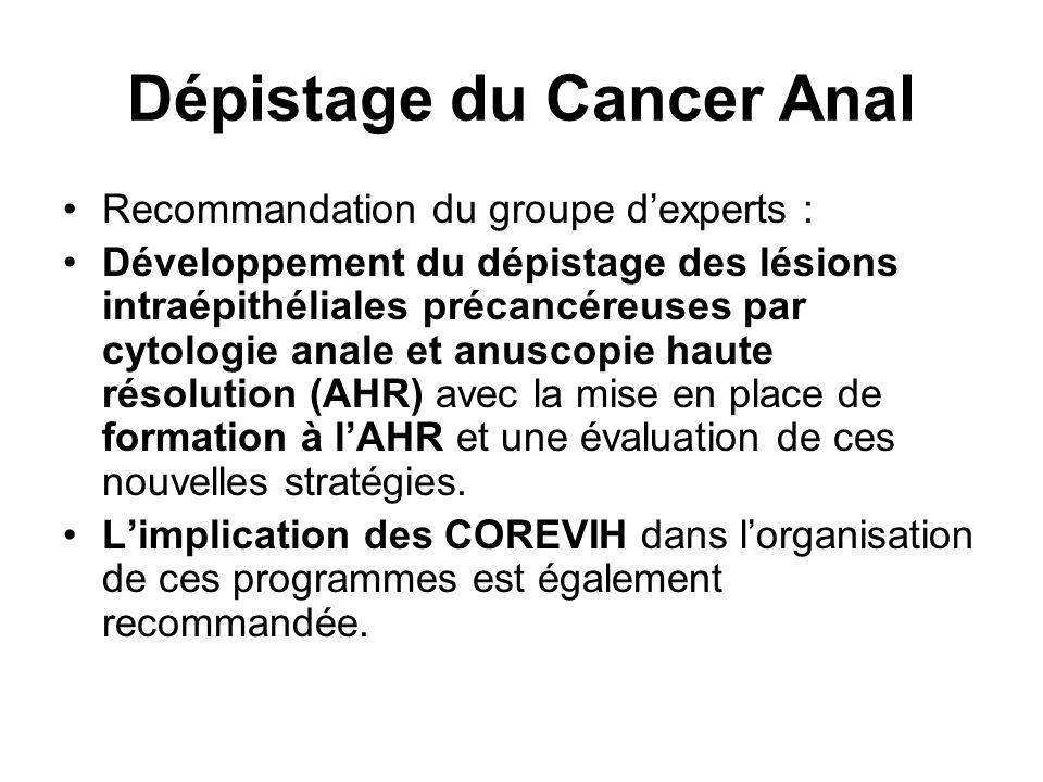 Dépistage du Cancer Anal Recommandation du groupe d'experts : Développement du dépistage des lésions intraépithéliales précancéreuses par cytologie anale et anuscopie haute résolution (AHR) avec la mise en place de formation à l'AHR et une évaluation de ces nouvelles stratégies.