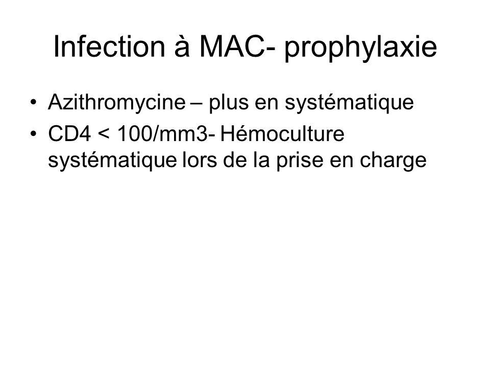 Infection à MAC- prophylaxie Azithromycine – plus en systématique CD4 < 100/mm3- Hémoculture systématique lors de la prise en charge