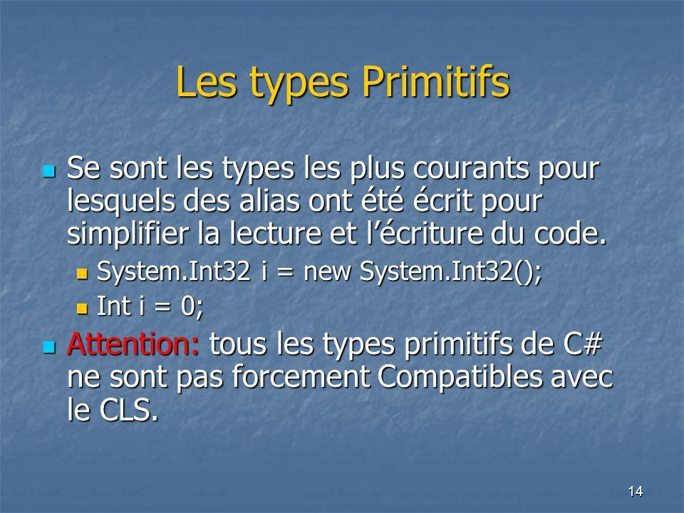 14 Les types Primitifs Se sont les types les plus courants pour lesquels des alias ont été écrit pour simplifier la lecture et l'écriture du code. Se