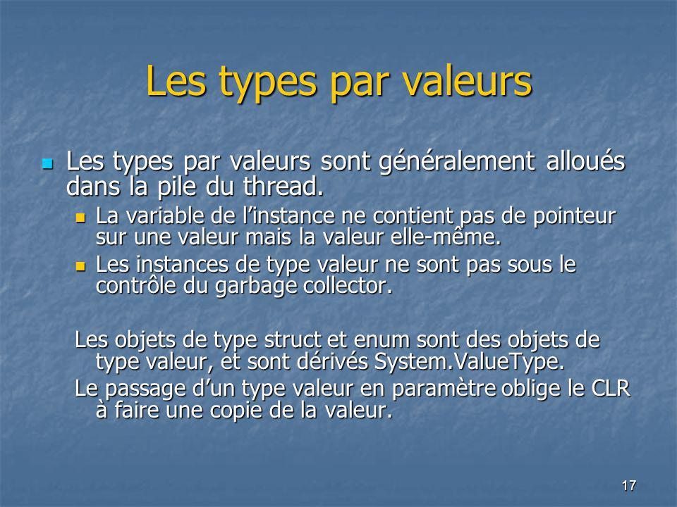 17 Les types par valeurs Les types par valeurs sont généralement alloués dans la pile du thread. Les types par valeurs sont généralement alloués dans