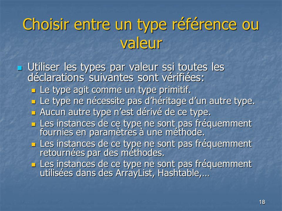 18 Choisir entre un type référence ou valeur Utiliser les types par valeur ssi toutes les déclarations suivantes sont vérifiées: Utiliser les types par valeur ssi toutes les déclarations suivantes sont vérifiées: Le type agit comme un type primitif.