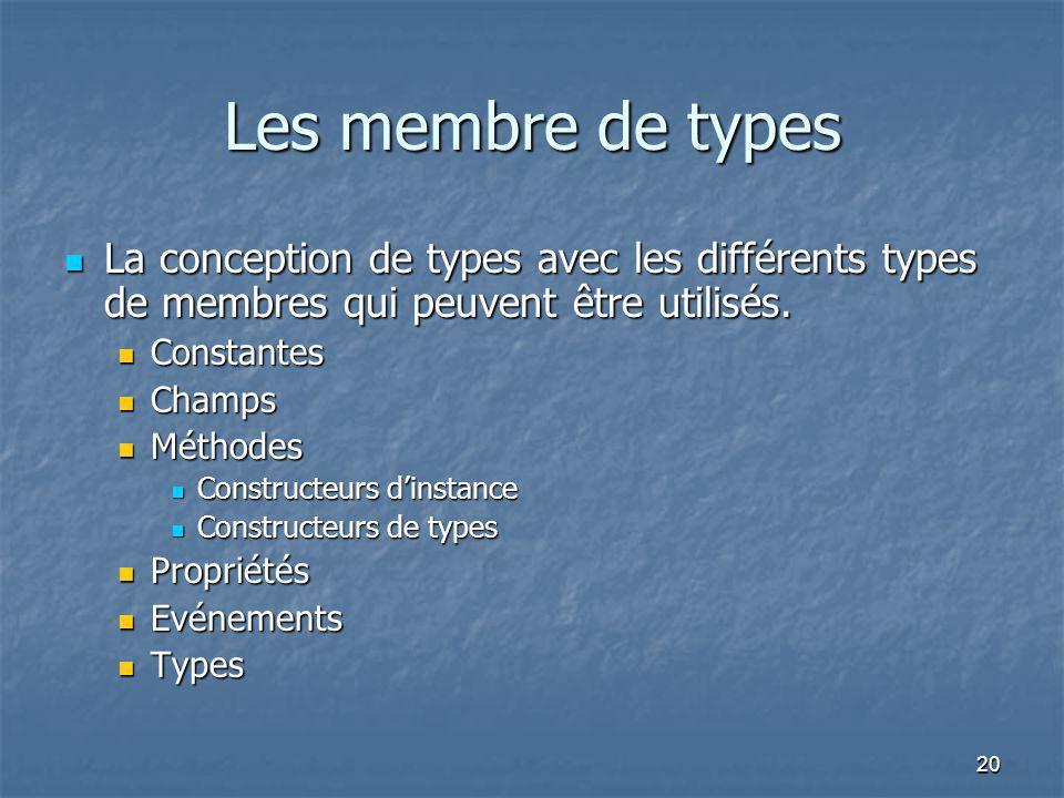 20 Les membre de types La conception de types avec les différents types de membres qui peuvent être utilisés. La conception de types avec les différen
