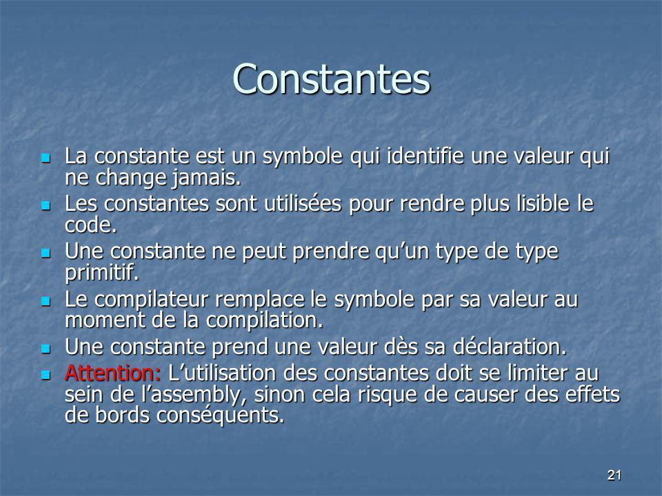 21 Constantes La constante est un symbole qui identifie une valeur qui ne change jamais. La constante est un symbole qui identifie une valeur qui ne c