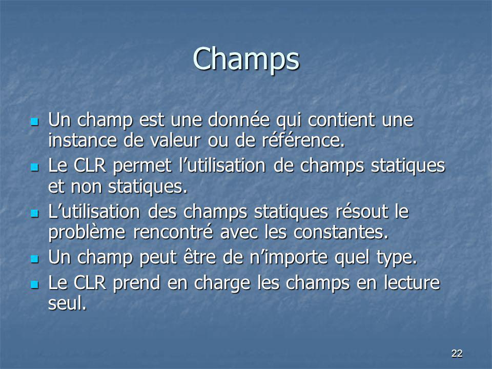 22 Champs Un champ est une donnée qui contient une instance de valeur ou de référence. Un champ est une donnée qui contient une instance de valeur ou