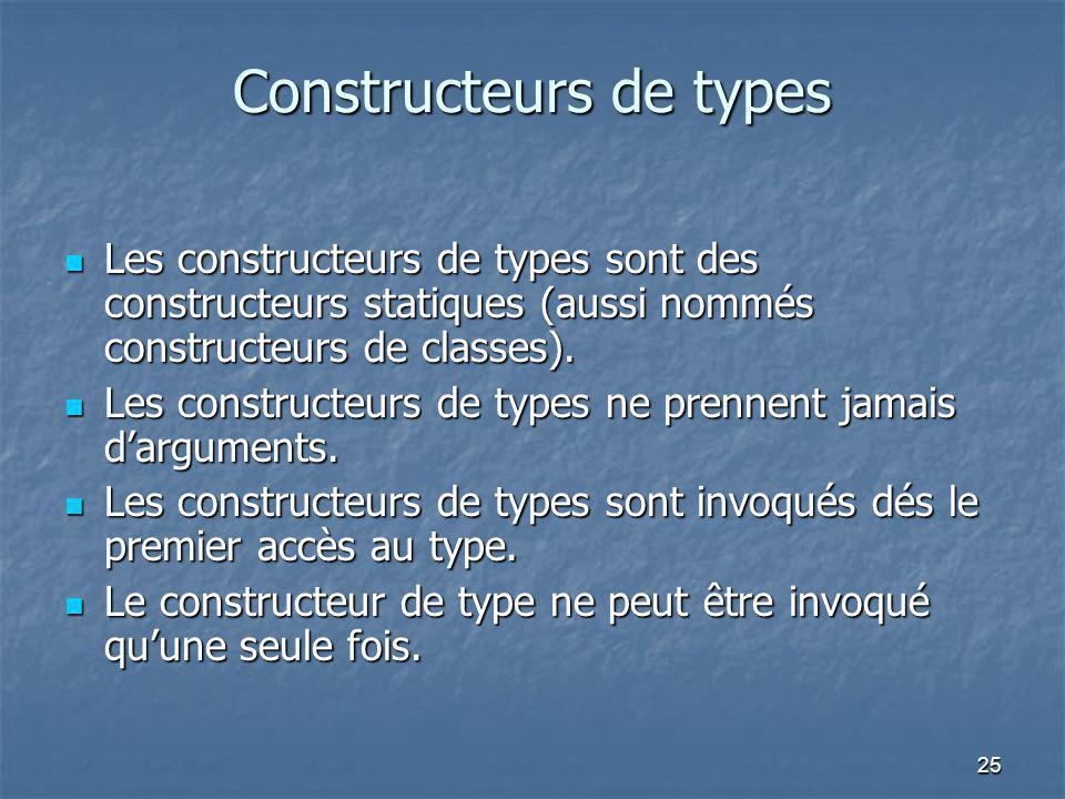25 Constructeurs de types Les constructeurs de types sont des constructeurs statiques (aussi nommés constructeurs de classes). Les constructeurs de ty