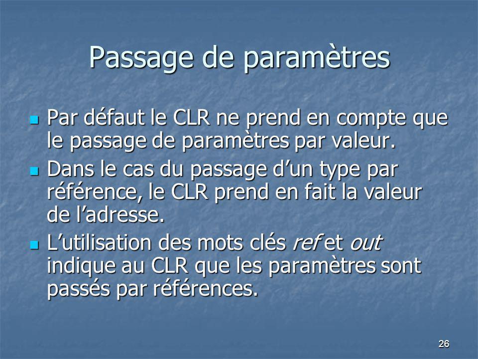 26 Passage de paramètres Par défaut le CLR ne prend en compte que le passage de paramètres par valeur. Par défaut le CLR ne prend en compte que le pas
