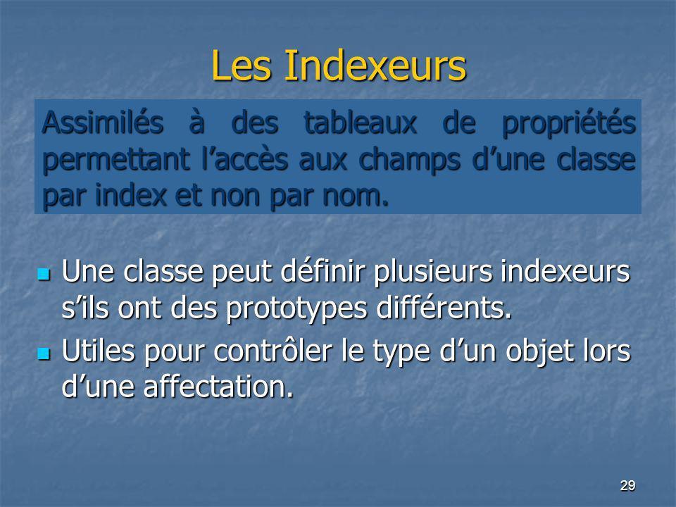 29 Les Indexeurs Une classe peut définir plusieurs indexeurs s'ils ont des prototypes différents. Une classe peut définir plusieurs indexeurs s'ils on