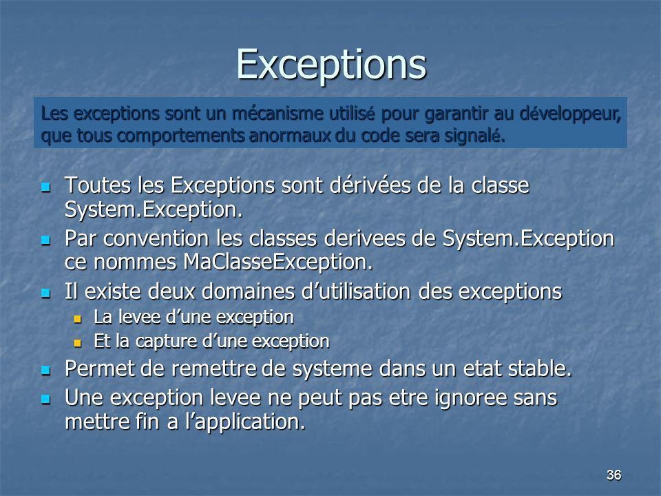 36 Exceptions Toutes les Exceptions sont dérivées de la classe System.Exception. Toutes les Exceptions sont dérivées de la classe System.Exception. Pa