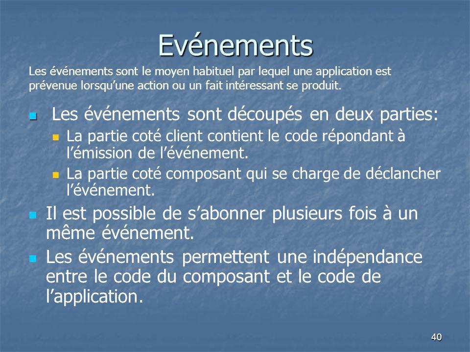 40 Evénements Les événements sont découpés en deux parties: La partie coté client contient le code répondant à l'émission de l'événement. La partie co