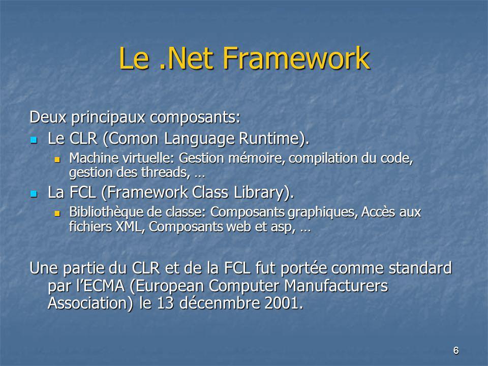 6 Le.Net Framework Deux principaux composants: Le CLR (Comon Language Runtime). Le CLR (Comon Language Runtime). Machine virtuelle: Gestion mémoire, c