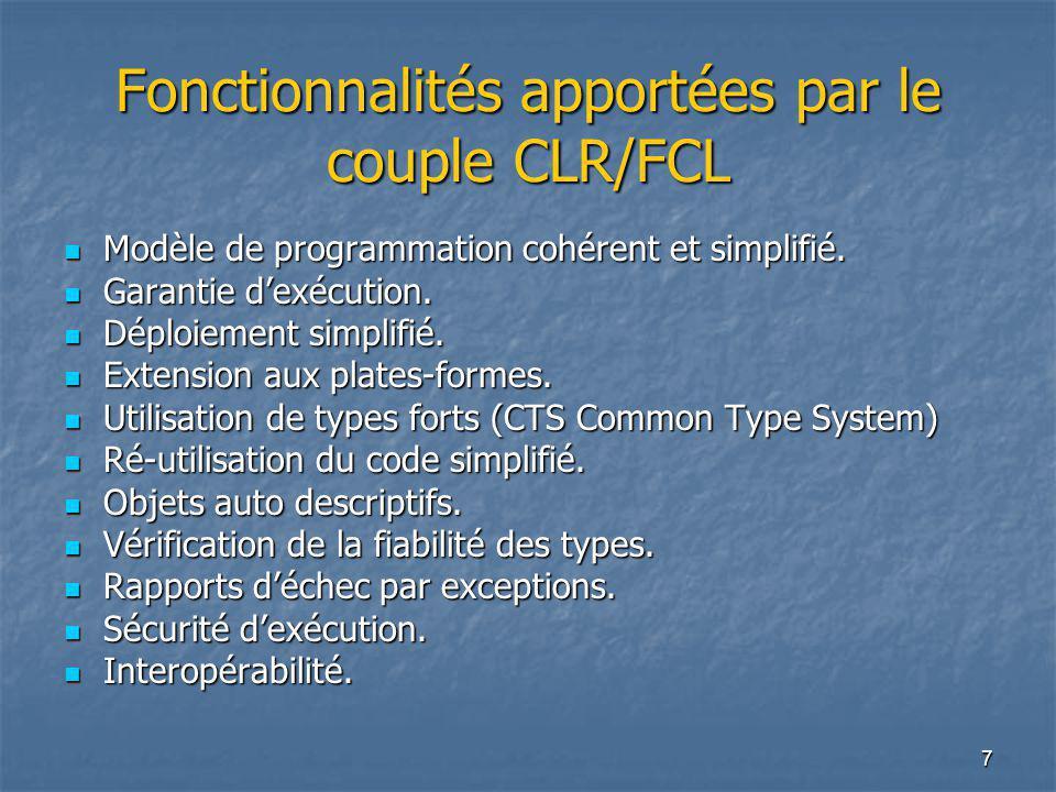 7 Fonctionnalités apportées par le couple CLR/FCL Modèle de programmation cohérent et simplifié. Modèle de programmation cohérent et simplifié. Garant